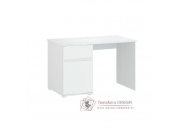 LINDY, pracovní stůl 1D1S-120, bílá / bílý lesk