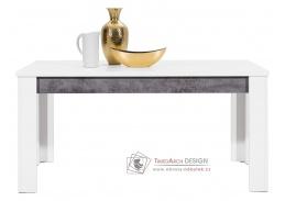 BRANDO B10, jídelní stůl rozkládací, bílá / beton