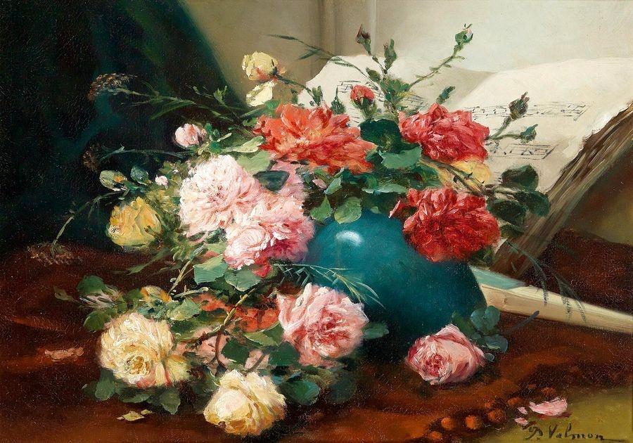 Krásné obrazy I-105 Eugene Henri Cauchois - Zátiší s kytici růží