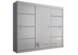 Skříň  MERINA 250cm s posuvnými dveřmi bílá / černá