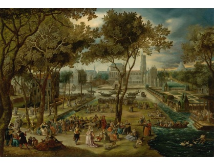 Slavné obrazy XVI-463 David Vinckboons - Zábava v zámeckém parku