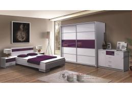 DUBAJ, ložnicová sestava nábytku, bílá / fialové sklo