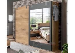 LOMAZA 791, šatní skříň s posuvými dveřmi 225cm, dubové prkna / šedá grafit / zrcadlo