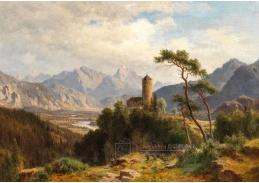 D-9558 Ludwig Halauska - Pohled do údolí Inn s hradem Klamm v popředí