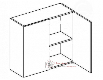 MERLIN, horní skříňka 2-dvéřová W80, šedá / bílý lesk