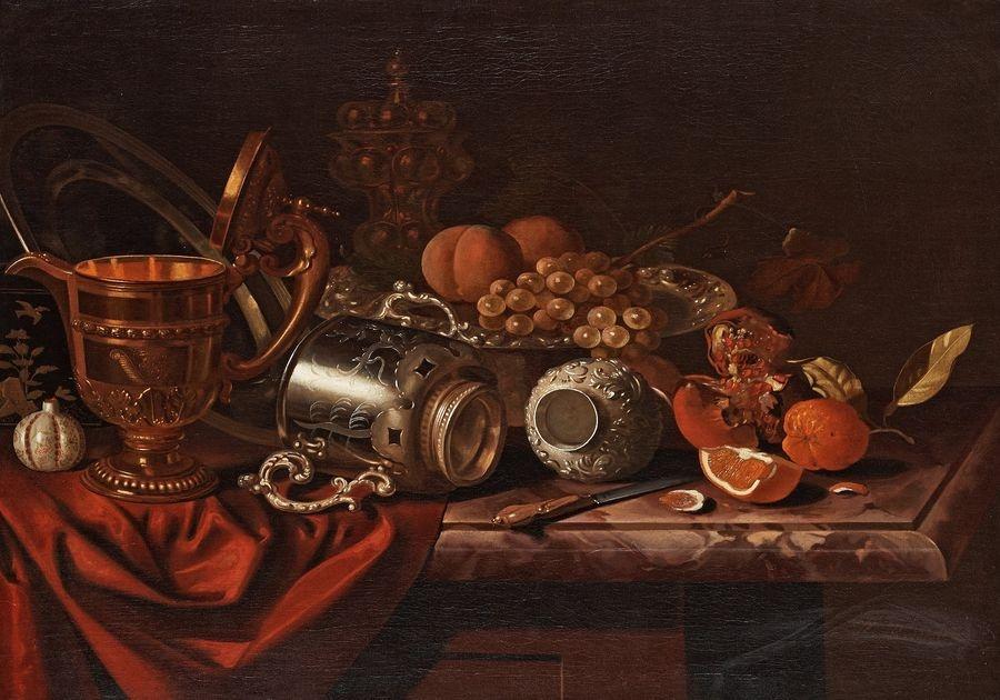 Slavné obrazy X DDSO-1002 Pieter van Roestraten - Zátiší s ovocem, nožem a poháry