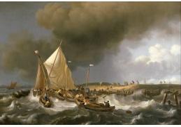 Slavné obrazy XI-85 Ludolf Backhuysen - Loď v bouři