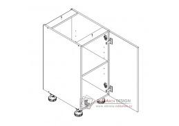 ARMOY, dolní koupelnová skříňka 1-dveřová D40 P/L s PD, bílá / bílý lesk