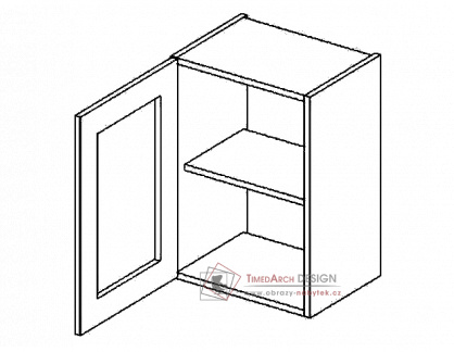 Horní vitrína jednodvéřová s čirým sklem W40WL PREMIUM de LUX hruška - levá