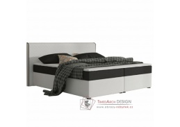 NOVARA MEGAKOMFORT VISCO, postel 180x200cm, ekokůže bílá / látka černá