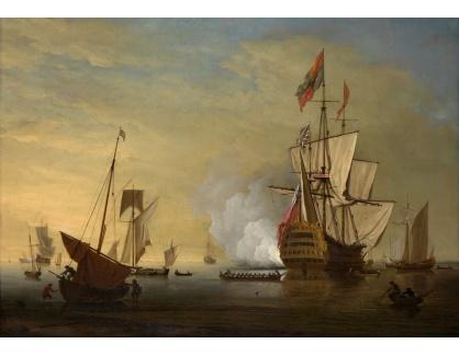 VANG252 Peter Monamy - Anglická loď v přístavu při odpálení dělové salvy