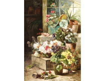 Slavné obrazy XVII-30 Eugene Henri Cauchois - Květináče