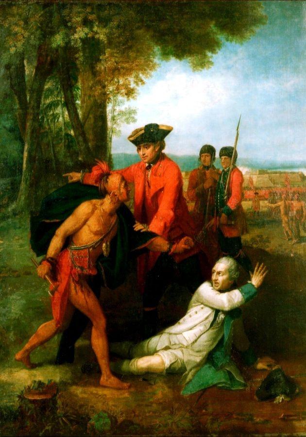 VANG105 Benjamin West - Záchrana života barona Dieskau v bitvě u Lake George