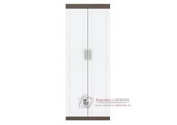 TENESSI, šatní skříň 2-dveřová 2D, jilm bergamo / bílý lesk