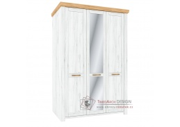 SUDBURY H, šatní skříň 3-dveřová 138cm, dub craft zlatý / dub craft bílý / zrcadlo
