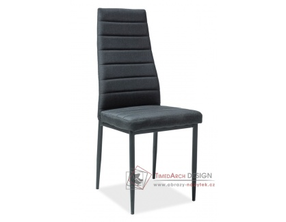H-265, jídelní čalouněná židle, černá / látka černá