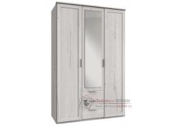 MARGITA 564, šatní skříň 3-dveřová se 3-mi zásuvkami 135cm 3D3S, dub bílý