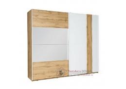 VODENA, šatní skříň 250cm 2-dveřová, dub wotan / bílá