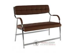 ILKIN, 2-místná lavice do čekáren, chrom / ekokůže hnědá