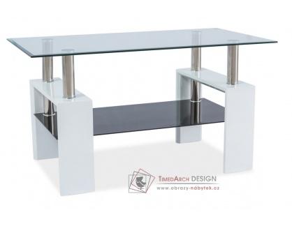 LISA III, konferenční stolek, bílý lak / sklo