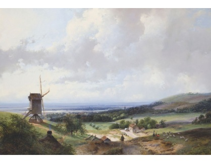 Slavné obrazy XVI-163 Andreas Schelfhout - Pastýř a jezdec na cestě podel mlýna s Haarlemem v pozadí