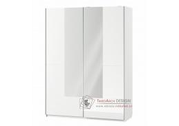 SELENE 30, šatní skříň s posuvnými dveřmi 164cm, bílá / bílý lesk / zrcadlo