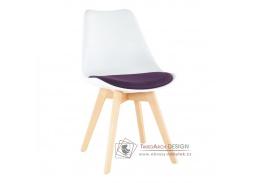 DAMARA, jídelní židle, buk / plast bílý / látka fialová
