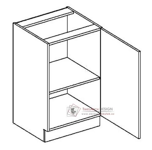 Dolní skříňka jednodvéřová D50P PREMIUM de LUX olše - pravá
