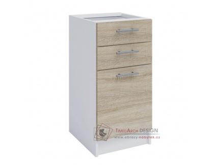 FABIANA, dolní skříňka 1-dveřová se 2-mi zásuvkami S40SZ2, bílá / dub sonoma