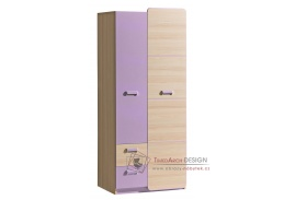 LIMO L01, šatní skříň, jasan coimbra / fialová