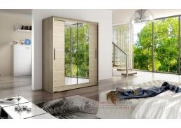 Šatní skříň s posuvnými dveřmi 150cm WESTA II dub sonoma / zrcadla