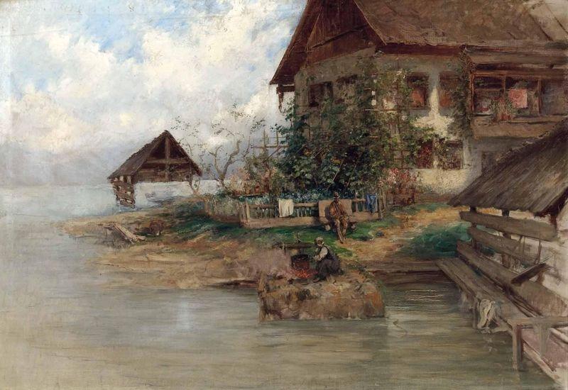 Slavné obrazy XIII-105 Carl Kaiser-Herbst - Usedlost na Gosausee