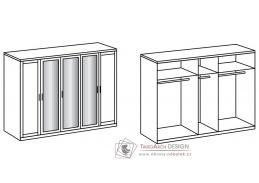 MARGITA 566, šatní skříň 5-ti dveřová 225cm, bílá