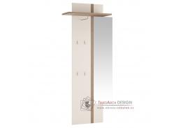 LYNATED 115, věšákový panel se zrcadlem,  bílá / bílý lesk / dub sonoma