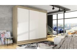 ASTON II, šatní skříň s posuvnými dveřmi 250cm, dub sonoma / bílá