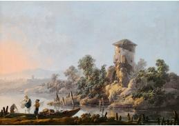 Krásné obrazy IV-110 Jean-Baptiste Pillement - Říční krajina s rybáři