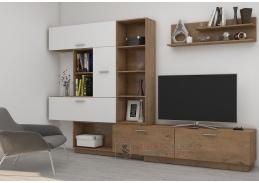 ALJAŠKA, obývací stěna, dub lancelot / bílý lesk