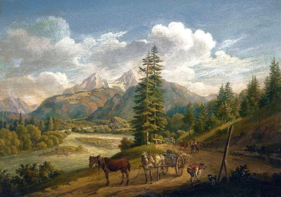 Slavné obrazy V-103 Johann Baptist Isenring - Krajina poblíže jezera Koenig