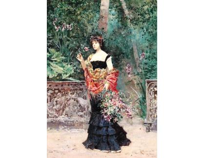 Krásné obrazy II-354 Ludovico Marchetti - Elegantní dáma v parku