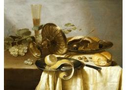 Krásné obrazy III-11 Adriaen Janszoon Kraen - Zátiší s hrozny, tácem, sklenicí a citronem