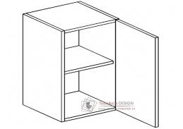 MORENO, horní skříňka 1-dvéřová W60, bílá / dub sonoma