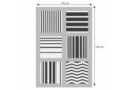 ALMAS, koberec 100x150cm, šedá / vzor