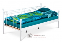BED-1905 WT, kovová postel 90x200cm, bílý lak