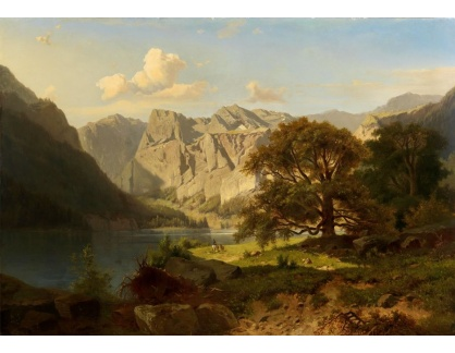 Slavné obrazy II-DDSO-379 Adolf Chwala - Horské jezero s pastýři