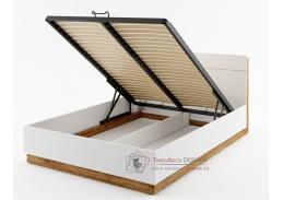 DENTRO DT-02, postel s ÚP a LED osvětlením 140x200cm, bílá / dub stirling