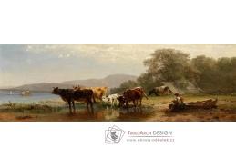 A-1295 Friedrich Voltz - Krávy na břehu jezera s rybářským člunem