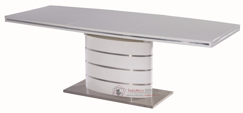 Jídelní stůl rozkládací FANO 160-220x90 cm bílý lesk
