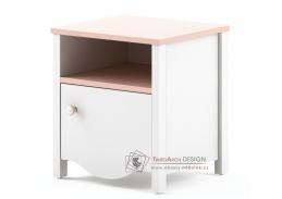 MIA MI-07, noční stolek, bílá / růžová