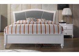 ALBION, postel 180x200cm, bílá / látka šedá
