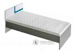 APETTITA 12, postel 90x200cm, antracit / bílá / tyrkysová